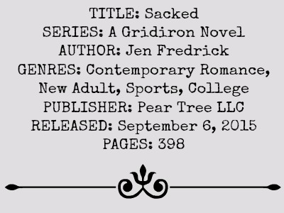 Sacked (A Gridiron Novel, Book #1) by Jen Frederick | Review on www.bxtchesbeblogging.com