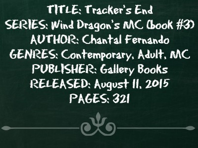 Tracker's End (Wind Dragons MC Series, Book #3) by Chantal Fernando | Review on www.bxtchesbeblogging.com